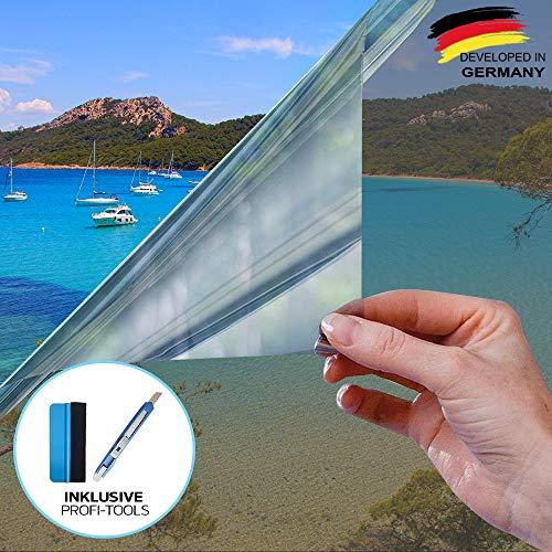 X-Solutions | UV-Schutz Sonnenschutzfolie Fenster innen oder außen | Spiegelfolie Selbstklebend | Selbsthaftend, Silber reflektierende Fensterfolie | Rückstandslose Sonnenschutz Folie | 90 x 200 cm