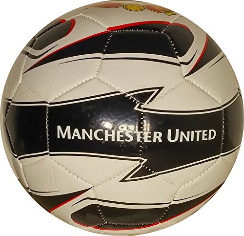 Manchester United Official Size Soccer Ball-White/Black/Red-Home-#5