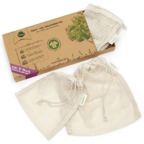 TreeBox Einkaufsnetze für Obst und Gemüse aus 100% Bio-Baumwolle (GOTS) - 3er Set - Mit Gewichtsangabe - Überaus langlebig - FSC® zert. Verpackung