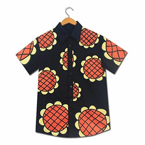 Shopular Anime One Piece Monkey D Luffy Sunflower Cartoon t-Shirt New World Dressrosa Corrida Colosseum Cosplay Costumes Casual Tops Tee (L) Navy Blue
