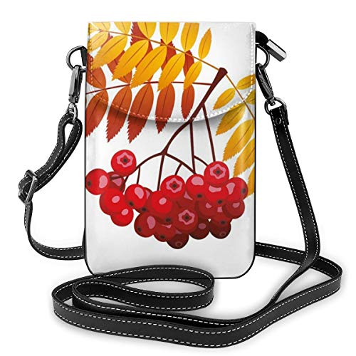 Women Mini Purse Crossbody of Cell Phone,Realistic Vivid Ripe Berries In Fall Season Orange Leaves Rural Plant