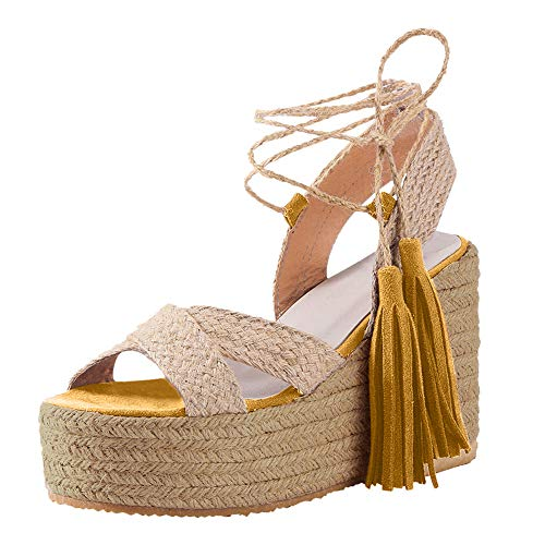 Aniywn Womens Lace Up Ankle Strap Platform Wedge Espadrille Heel Peep Toe Sandals High Heel Summer Shoes Yellow