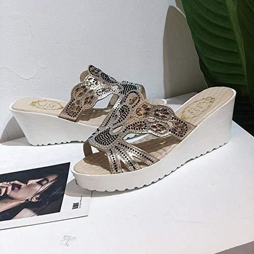 ypyrhh Sandali Slide in Pelle da Donna,Zeppa con Pantofole in Tessuto,Sandali con Tacco-Beige_34,Infradito Slim Glamour