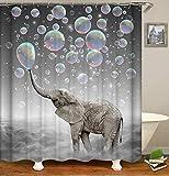 N / A Impresión 3D Cortina de Ducha baño con Animal Elefante Cortina decoración tamaño Imagen Personalizada Cortina de Ducha Cortina de Ducha Impermeable y a Prueba de Moho A6 180x180cm