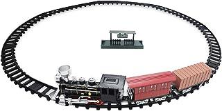 rongweiwang Vintage barnspår litet tåg leksak vintage barn elektriskt ljus musik tåg simulering klassisk power track tågmo...