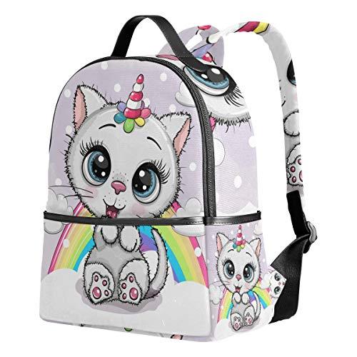 Ahomy Mochila de dibujos animados para gatos, gatitos, unicornios, arcoíris, para viajes, camping, escuela, para niñas y niños