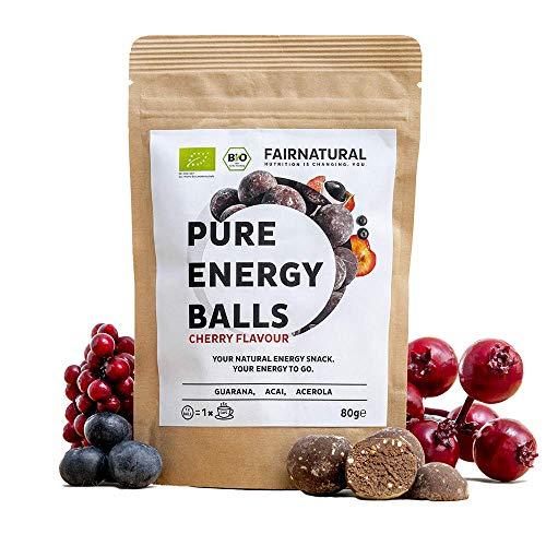 ORGANICA Energy Balls con Guarana - 1 Ball funciona como 1 café - Alternativo a las barras energéticas, bebidas energéticas y café I Guaraná, acai, dátiles y con sabor a cereza (80g)