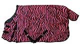 AJ Tack Wholesale 600D Waterproof Poly Turnout Blanket - Pink Zebra - 82