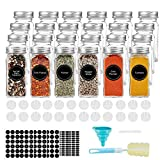 AIKKIL Botellas de especias de 100 ml. Tarros cuadrados vacíos. Tapa coctelera y tapas de metal herméticas. Embudo de silicona plegable incluido (24 unidades).