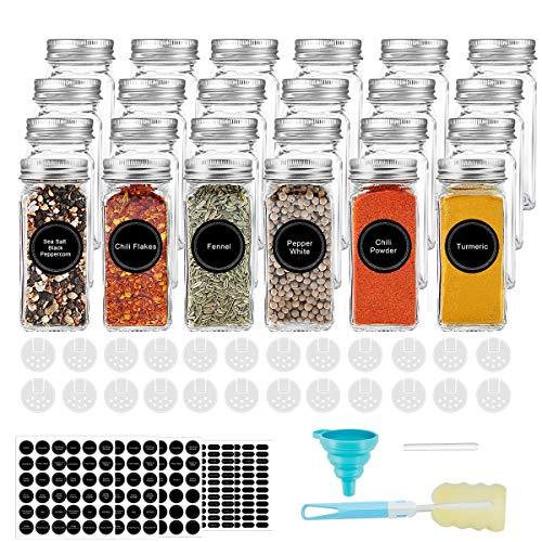 AIKKIL - Botes de cristal para especias de 100 ml. Tarros cuadrados vacíos. Tapa coctelera y tapas de metal herméticas. Incluye un embudo de silicona plegable