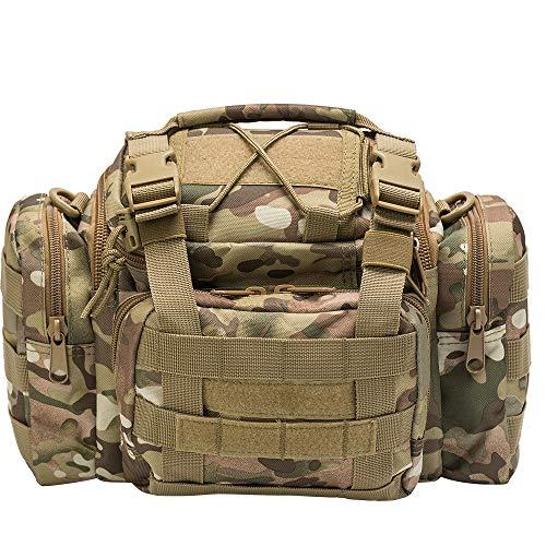 Bolsa impermeable para pesca, caza o ciclismo, riñonera y bandolera, diseño de camuflaje marrón y verde, Tan Camo