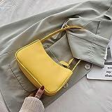 Mdsfe Primavera Verano Mujer Bolsos de Moda Retro Bolso de Hombro con Cremallera de Cuero de la PU Bolsa Femenina Hobo Vintage Bolso de Mano pequeño para Mujer - Bolso Amarillo
