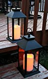 BANBERRY DESIGNS Decorative Black Lanterns - Set of 2 Lanterns with LED Candles Each with 5-Hour Timer - 13' H