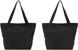 Augbunny Heavy Duty 100% Cotton Canvas Zipper Beach Shoulder Grocery Tote Bag With Outer Pocket 2-pack