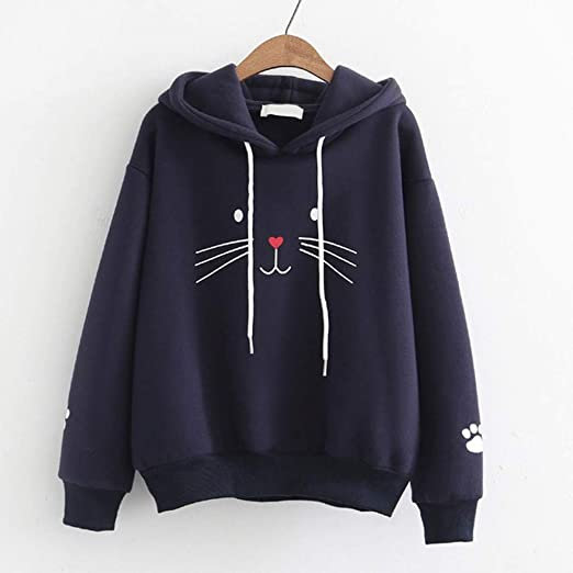 Graphical Flowers Cat Cool Womens Winter Long Sleeve Drawstring Plus Size Tops Active Hoodies Teen Girls