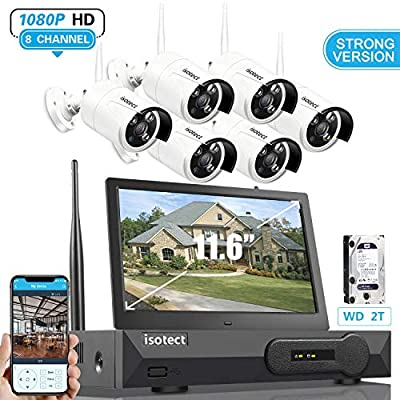 [Newest Strong Version]All in One with 11.6-inch Monitor Home Video Surveillance System, Wireless Security Camera System,Isotect 8CH Full HD 1080P Security Camera System 6pcs 1080P IP Cameras, 2TB HDD