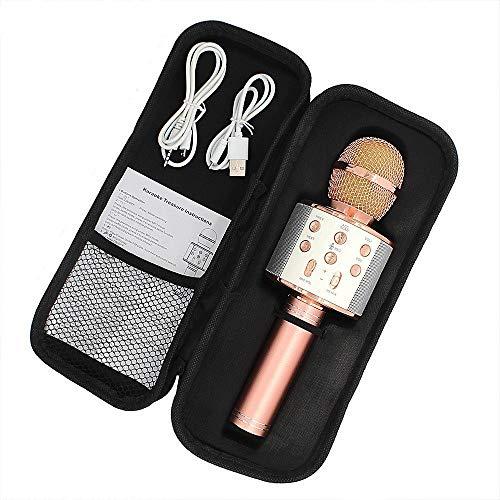 LIUCHEN micrófonoMicrófono de Karaoke, Altavoz inalámbrico, micrófono Bluetooth para computadora, teléfono, grabación, micrófono de Karaoke en casa, Oro Rosa,