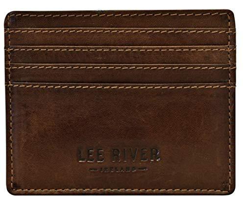 Lee River Tomas Slim Celtic Knot Leather Card Holder Tan