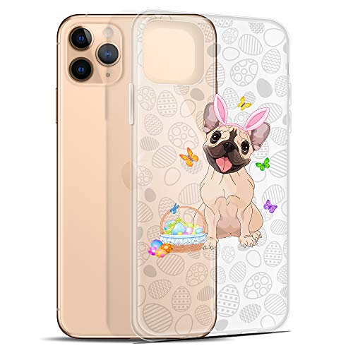 Compatible for iPhone 11 Case Happy Easter Eggs Frenchie Dog Mom Butterfly Bunny Ears Anti-Scratch Covers