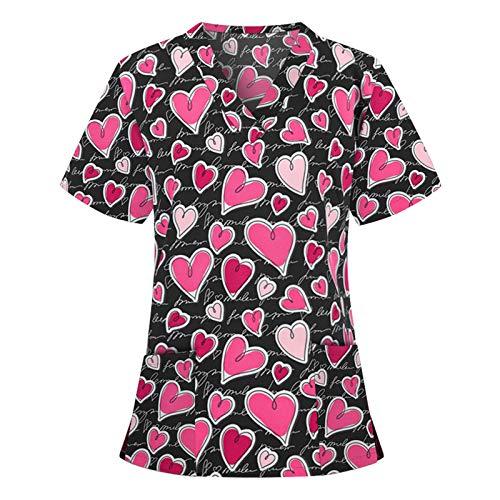 Camiseta de Uniforme de Trabajo para Mujer, Estampado de Gato en Forma de corazn, Camisa de Manga Corta con Cuello en v, Monos de Cintura con Bolsillos