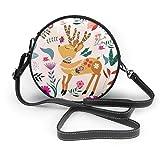 Colorido ciervo flor hojas bandolera redonda bolso de cuero bolsos monedero bandolera para mujer