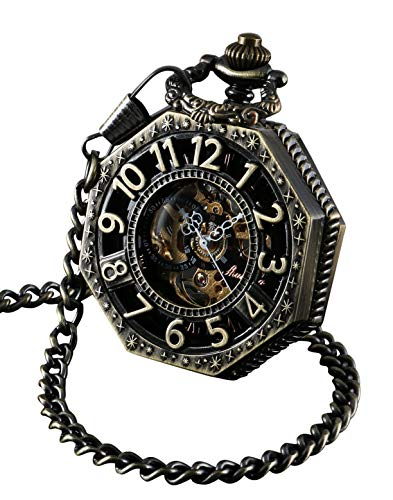 ShoppeWatch Taschenuhr mit Kette Antik Gold Ton Octagon Fall Steampunk mechanische Bewegung PW-221