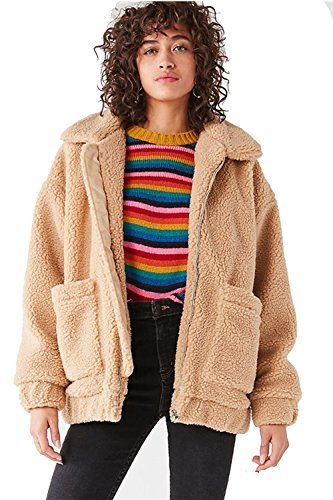 kooosin Fluffy Women Coats Faux Wool Blend Warm Winter Jacket Zip Up Long Sleeve Oversized Fashion Outerwear(070-C-L) Camel