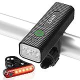Lsan Luz Bicicleta Recargable USB,800 Lúmenes 2 LED Luz Bicicleta Potente Delantera y Trasera,IPX5 Impermeable,5 Modos Ajustables,para Ciclismo Carretera y Montaña para la Noche