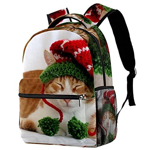 Mochila para niños y niñas para la escuela 52 mochilas lindas para jardín de infancia o primaria 29.4x20x40cm, Gatito con gorro de Navidad 8, 29.4x20x40cm, Mochilas Daypack
