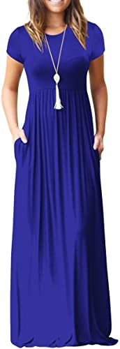 VIISHOW Women's Short Sleeve Loose Plain Maxi Dresses Casual Long Dresses with Pockets