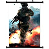 MiniGao Wall Scroll Poster with Call Of Duty Modern Warfare Military Soldier Fire Gun Action Home Decor Wall Posters Fabric Painting 32 X 48 Inch