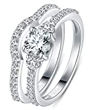 925 Sterling Silver Ring, Boruo Cubic Zirconia CZ 2pc Wedding Band Stackable Ring Set 4mm Size 6
