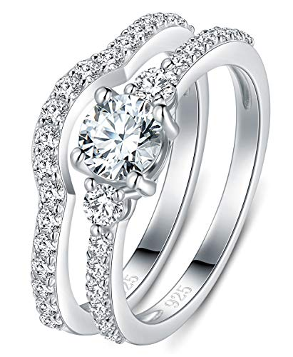 BORUO 925 Sterling Silver Ring, Cubic Zirconia CZ 2pc Wedding Band Stackable Ring Set 4mm Size 7