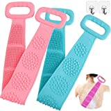 Veczom Bath Body Brush Silicone Body Back Scrubber, 2 Pack Bath Brush Deep Clean Gentle Exfoliating 31.5'' Extra Long Double Sided Handle Scrubbing Belt Bristle for Shower Women Men (Pink+Green)