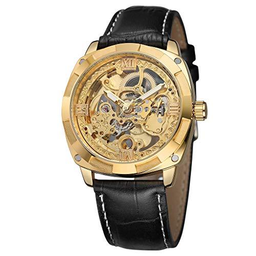 Quartz horloge heren polshorloge, Hollow Automatic Mechanisch horloge waterdicht leer business mechanisch horloge met doos