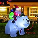 Père Noël Gonflable, père Noël de chevauchant l'ours Blanc pour la décoration de Jardin de Cour intérieure/extérieure de Noël, gonflage Rapide, Gonflable De Noël De Poupée, Christmas Santa Claus