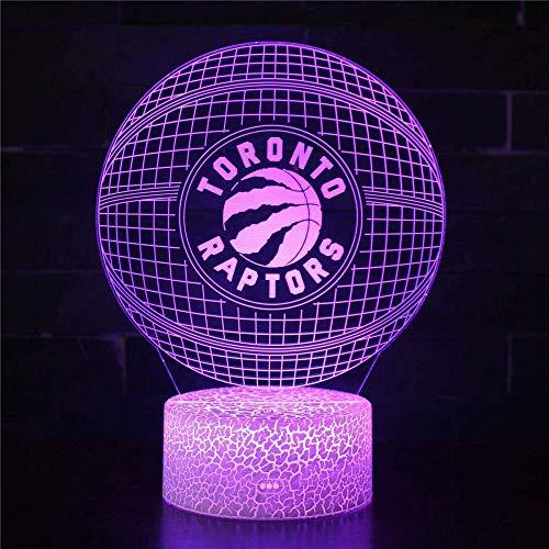 Luz nocturna 3D, lámpara de ilusión LED 3D, abanicos de baloncesto de la NBA, con control táctil, regalos de cumpleaños para niños