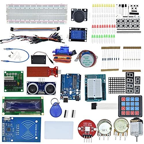 Kit de Inicio para Arduino Uno R3 MEGA328P Breadboard y Soporte Paso Motor / SG90 ServO / 1602 LCD/JUMER Cable/RFID Módulo/Relé (Color : Not Box)