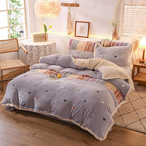 double teddy bear bedding set-Autumn and winter thick gold mink four-piece set double-sided warm flannel lamb velvet four-piece gift set-HH_2.0m bed (4 pieces)