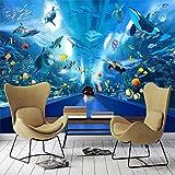 Papel tapiz de fondo con tema de acuario mundial submarino estéreo 3D, papel tapiz arqueado para pasillo de hotel, Mural de restaurante, revestimiento de paredes