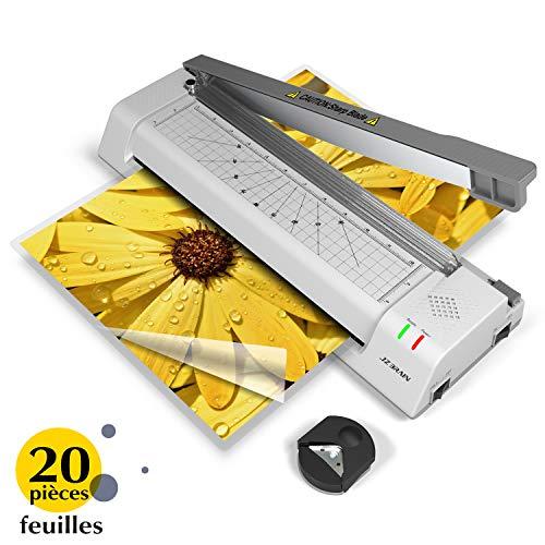 Blusmart Juego de plastificadoras 5 en 1, A4, recortadoras, esquinas redondeadas, 20 bolsas de laminaci/ón, marcos de fotos, color blanco
