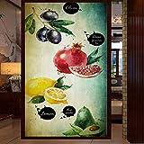 rylryl papel pintado 3d pintado a mano tienda de frutas restaurante herramientas entrada mural puerta limón granada fruta pintura-250x175cm