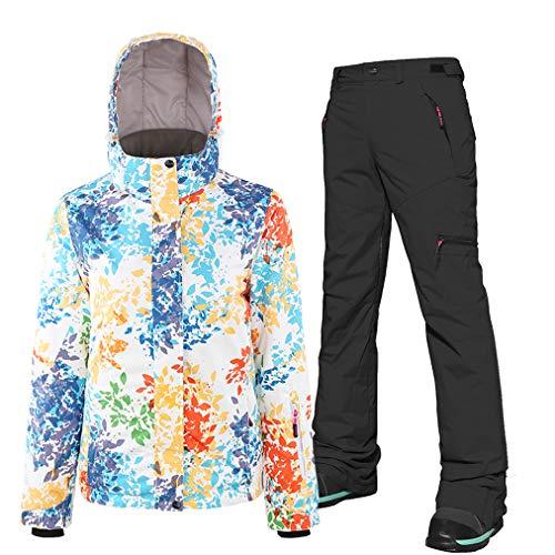 Skijacken und Hosen Set für Damen, hoch winddicht wasserdicht Schneeanzug Ski-Outfit Snowboard Skianzug Hose, Snowboard & Skianzug Skiausrüstung, geeignet für Snowboarden, Bergsteigen Gr. S, Schwarz
