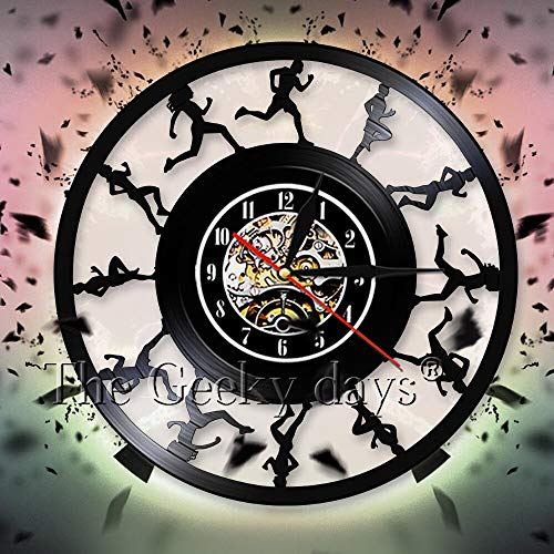 fdgdfgd Black Retro CD Clock Marathon Runner Decoration Wall Clock Vinyl Record Wall Clock Decoration | New Year