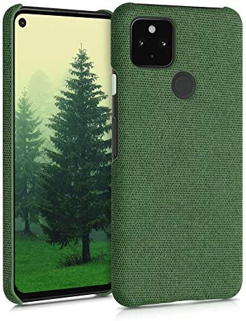 kwmobile Fabric Case Compatible with Google Pixel 4a 5G - Hard Protective Phone Cover with Material Texture - Green