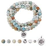 SUNNYCLUE 1 Bag DIY 108 Mala Prayer Beads Wrap Bracelets Necklace Making Kit Natural Amazonite Gemstone 8mm Jewelry Starter Kit, Elastic