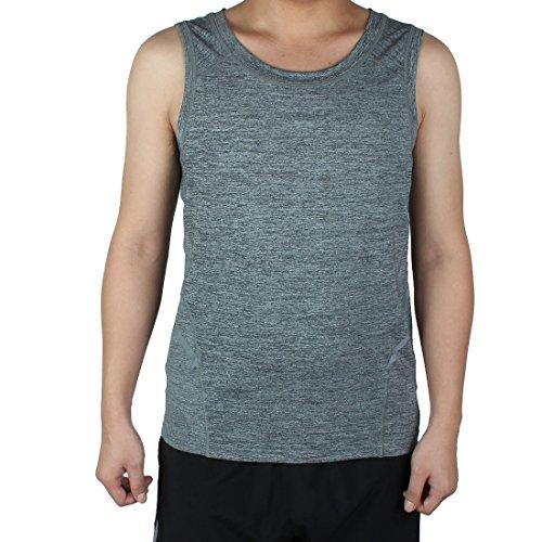 Sourcingmap T-Shirt Homme Adulte Vite Dry sans Manche Gilet Vêtement Sport Exercice Top Gris S