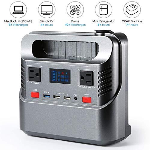Draagbare generator, op zonne-energie, oplaadbare noodstroomvoorziening, accu, AC/DC-stopcontact, QC 3,0 USB-poort, 12 V, auto, voor thuis, camping, reizen, CPAP