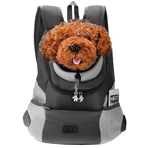 (M for 0 3.2kg, Black) - Mogoko Comfortable Dog Cat Carrier Backpack, Puppy Pet Front Pack with Breathable Head Out Design and Padded Shoulder for Hiking Outdoor Travel