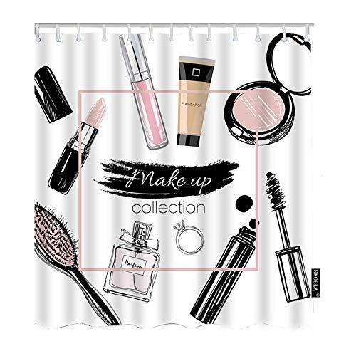 EKOBLA Make Up Set Shower Curtain Beauty Cosmetic Powder Lipstick Perfume Comb Diamond Ring Sketch Waterproof Shower Curtain for Bathroom Kitchen Decor Polyester Fibre 60x72 Inch